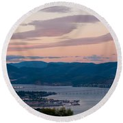 Hobart Harbour During Sunset Round Beach Towel