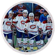 Hockey Art At Bell Center Montreal Round Beach Towel