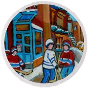 Hockey Game Corner Clark And Fairmount Wilenskys Paintings Round Beach Towel by Carole Spandau