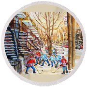 Hockey Game Near Winding Staircases Round Beach Towel