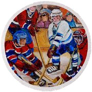 Hockey Game Scoring The Goal Round Beach Towel by Carole Spandau