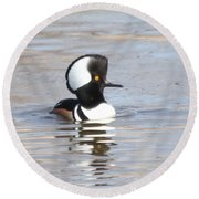 Hodded Merganser Round Beach Towel