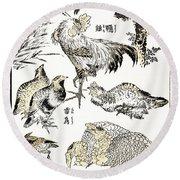 Hokusai: Birds Round Beach Towel