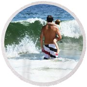 Holding On Round Beach Towel