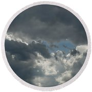 Hole In The Clouds Round Beach Towel
