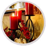 Holiday Candles Hcp Round Beach Towel