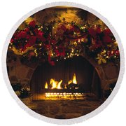 Holiday Hearth Round Beach Towel