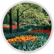 Holland Kuekenhof Garden Round Beach Towel