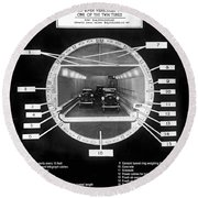 Holland Tunnel Section View Round Beach Towel