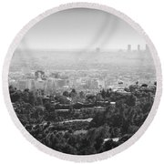 Hollywood From Above Round Beach Towel