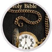 Holy Bible Pocket Watch 1 Round Beach Towel
