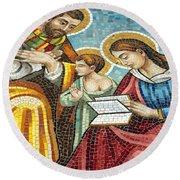 Holy Family At Catholic Church Round Beach Towel