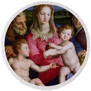 Holy Family With St Anne And The Infant St John The Baptist Round Beach Towel