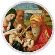 Holy Family With St. Simeon And John The Baptist Round Beach Towel by Francesco Rizzi da Santacroce