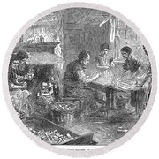 Home Industry, 1871 Round Beach Towel