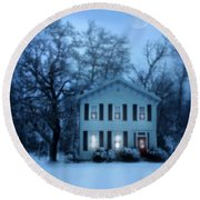 Home On A Wintery Evening Round Beach Towel