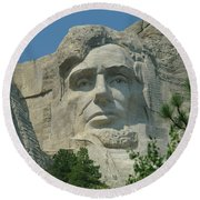 Honest Abe In Stone Round Beach Towel