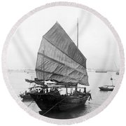 Hong Kong Harbor - Chinese Junk Boat - C 1907 Round Beach Towel