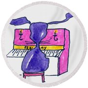 Honkey Tonk Piano Round Beach Towel
