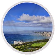 Honolulu From Diamond Head Round Beach Towel