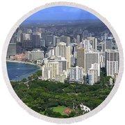 Honolulu Hawaii And Waikiki Beach Round Beach Towel