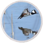 Hooded Merganser Flying Round Beach Towel