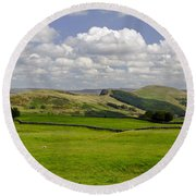 Hope Valley From Winnats Head Round Beach Towel
