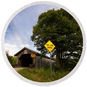 Hopkins Covered Bridge Round Beach Towel