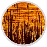 Horicon Cattail Marsh Wisconsin Round Beach Towel