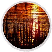 Horicon Marsh Sunset Wisconsin Round Beach Towel