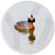 Horned Grebe Round Beach Towel