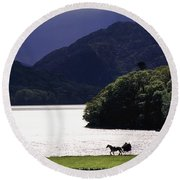 Horse And Buggy By Waterfront Round Beach Towel