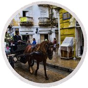 Horse And Buggy In Old Cartagena Colombia Round Beach Towel