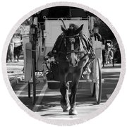 Horse And Buggy Round Beach Towel