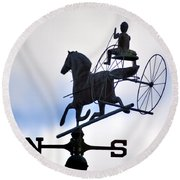 Horse And Buggy Weather Vane Round Beach Towel