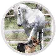 Horse And Dog Play Round Beach Towel