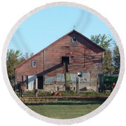 Horse Barn Round Beach Towel