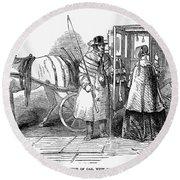 Horse Carriage, 1847 Round Beach Towel