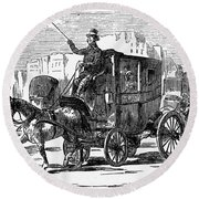 Horse Carriage, 1853 Round Beach Towel