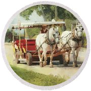 Horse Carriage Mackinac Island Michigan Round Beach Towel