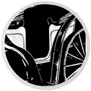 Horse Drawn Carriage Antique Round Beach Towel