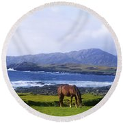 Horse Grazing In A Field, Beara Round Beach Towel