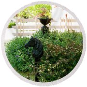 Horse Hitching Post 2 Round Beach Towel