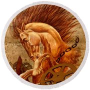 Horse Jewels Round Beach Towel by Lena Day