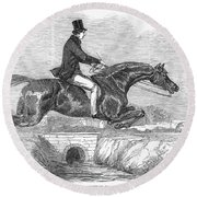 Horse-jumping, 1852 Round Beach Towel