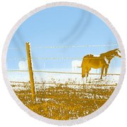Horse Pasture Revblue Round Beach Towel