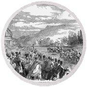 Horse Racing, 1850 Round Beach Towel