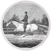 Horse Racing, 1851 Round Beach Towel