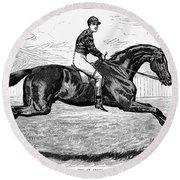 Horse Racing, 1880s Round Beach Towel