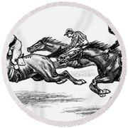 Horse Racing, 1900 Round Beach Towel
